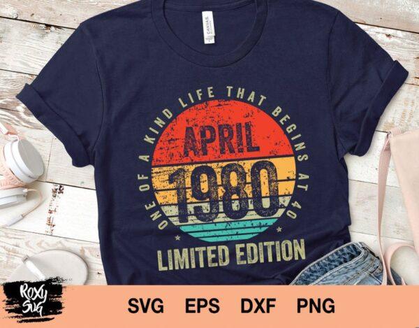Vintage April 1980 svg