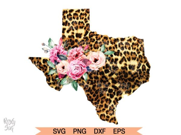 Cheetah y Floral Texas Clipart