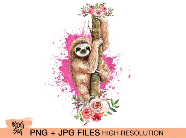 Sloth on tree with flowers