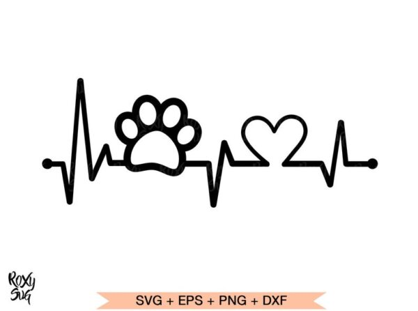 Paw Print heartbeat SVG