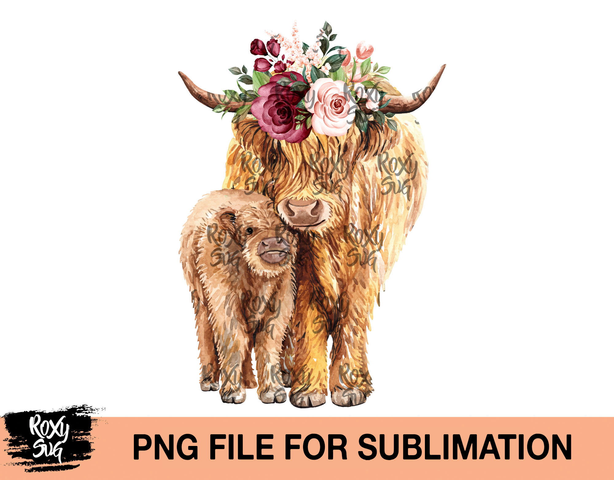Cow and calf with flower png file
